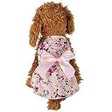 YWLINK Haustier Hund Katze Puppy Sommer Blumen Bogen Prinzessin Party Kleiden Hemdkleid Kleidung Strand StraßE Shirt(M,Rosa)