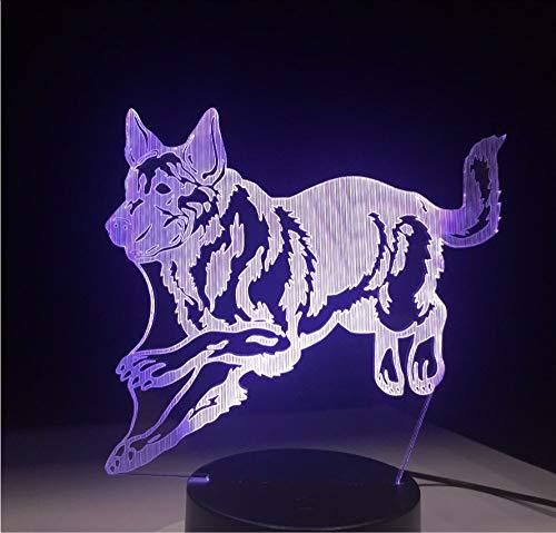 Lyqyzw Wolf 2D Acryl 3D Optische Täuschung Stimmungslicht 7 Farben Ändern Lava Lampe Kinder Nachtlicht Geschenke Touch-Schalter