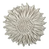 JWH 3D Sun Flowers Handmade Round Cushions Wool Accent Pillows Wedding Home Sofa Car Office Decorative Throw Pillow Greamy White 12 Inch