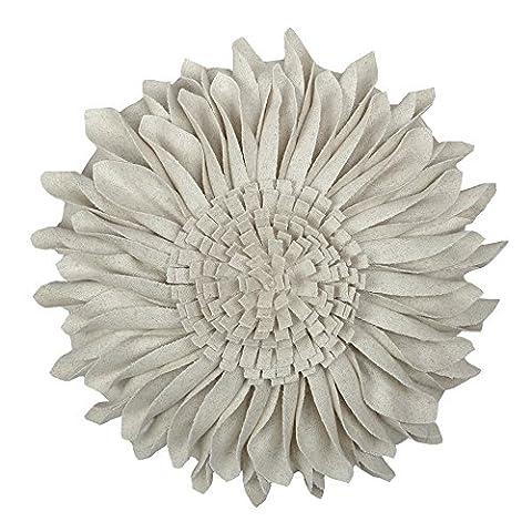 JWH 3D Sonnenblume Wolle Kissen Hochzeit Dekorativ Heim Stuhl Überwurf Kissen Kaffee Auto Sofa Accent Kissen., Greamy White, 12 Inch / 30 cm