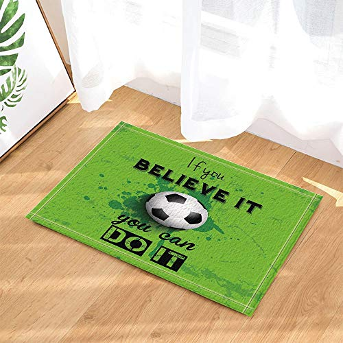 fdswdfg221 Soccer Decor EIN Fußball auf Garss mit Motto-Badteppichen für Badezimmer Rutschfeste Bodeneingänge Outdoor Indoor Haustürmatte Kids Bath Mat Green