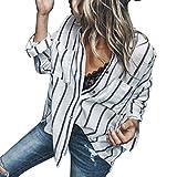 Overdose Blusa para Mujer OtoñO Primavera Nueva Mejor Venta De Moda Casual De Manga Larga Color Block Stripe Button Camisetas Tops (L, Azul Marino)