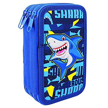 Starplast, Estuche Escolar Plumier, de Tres Cremalleras, Diseño Infantil, 20 cm x 6 cm x 13 cm, para Guardar Pinturas, Reglas y Material, Diseño Tiburon Shark
