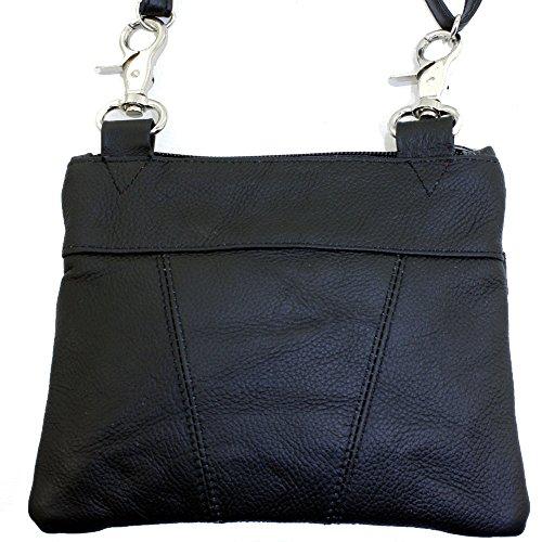 Echtes Leder Kleine Schulter überqueren Körper Reise Mini-Geldbeutel-Tasche Durch Silber Fever ® schwarz 3097
