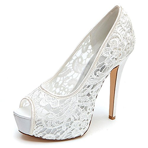 Elobaby womens wedding ladies tacco alto pizzo kitten sandali party prom scarpe da sposa su misura, white, 37