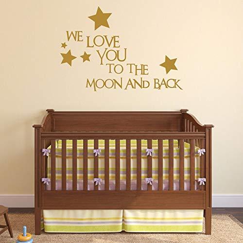 mer Wandtattoo Wohnzimmer Kids Nursery Wall Decal Quotes Wir lieben dich zum Mond und zurück Wandaufkleber für Kinderzimmer Schlafzimmer ()