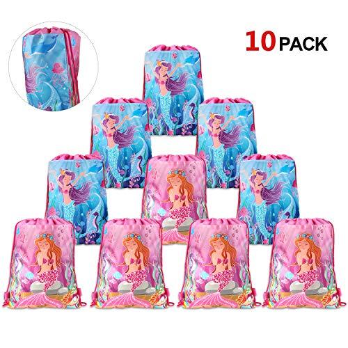 Howaf 10 Stück Meerjungfrau Turnbeutel Mitgebsel Kindergeburtstag Geschenktütchen Geschenktüten Partytüten für Kinder Mädchen Kindergeburtstag Meerjungfrau Party