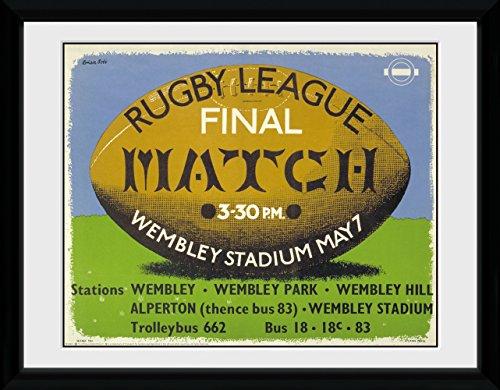 GB Eye Ltd Transport for London, Rugby, encadrée, 30 x 40 cm, Bois, différents, 52 x 44 x 3 cm