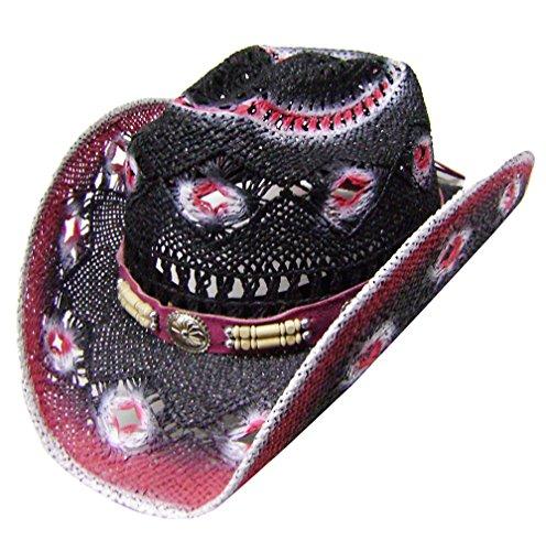 Modestone Women's Straw Cowboy-Hut White Fuchsia Black (Ariat ' Caps Für Frauen)