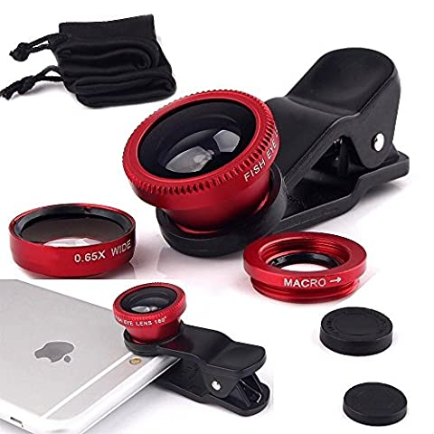 ONX3 verykool s5001 Lotus (Red) Mobile Phone Universal Camera Lens 3 in 1 Kit Wide Angle Lens + Fisheye Lens + Macro Lens with Clip-on 180 Degree For Both Android and iOS