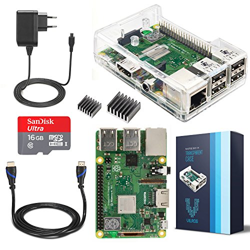 V-Kits Raspberry Pi 3 Model B+ (Plus) Complete Starter Kit Mit Klar Gehause Case- (EU Edition) -Enthalt: Raspberry Pi 3 Model B+ (Plus) mit 5 Wesentlich Zubehör Gigabit Ethernet-802.11 B/g/n Bluetooth