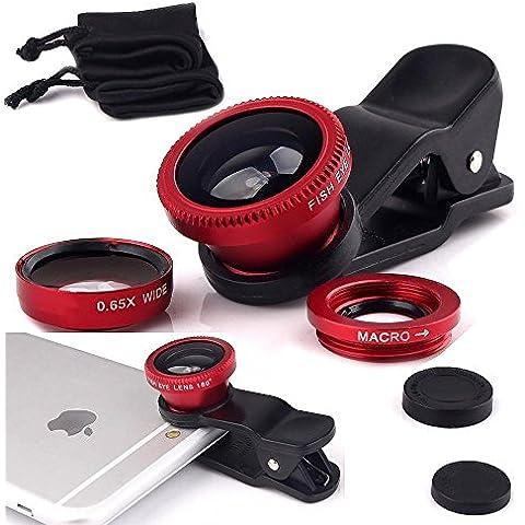 Fone-Case Red Huawei G9 Plus Clip universale Il 3 in 1 Mobile Phone Camera Lens Kit 180 gradi Fisheye + Macro Lens + obiettivo grandangolare per Android e IOS