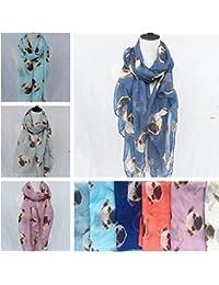 foopp impresión de perro carlino larga suave bufandas