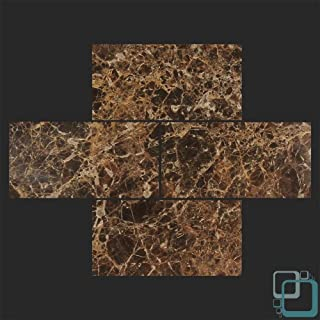Dark Emperador 3x6 Polished Marble Subway Tile by Allmarbletiles