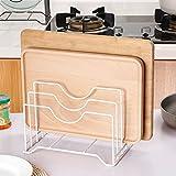 Kangsur Eisen Schneidebrett Halter Deckel Rack Pan Organizer Küche Lagerung Messer Rahmen Multi-Layer Regale Einfache Bücherregal,White