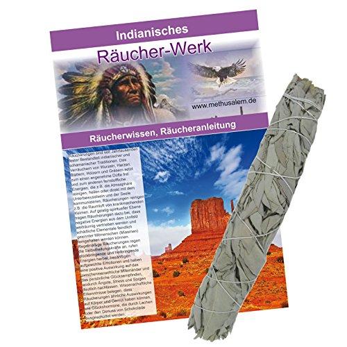 Indianisches Lakota Räucher-Set. 2-teilig. XXL Sage Jumbo-Smudge-Stick ca. 21-23cm & Booklet