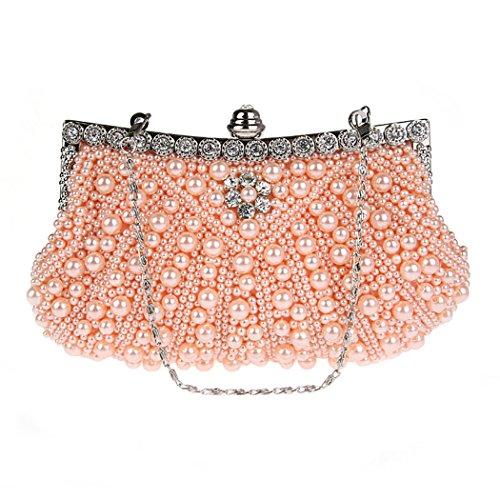 KAXIDY Damen Vintage Samen-Perlen Abendtasche Hochzeit Bead-hand-knit Abschlussball & Party-Abend Handtasche (Weiß) Pink