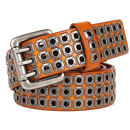 XJKLFJSIU-Belt Cintura/Rivetto Cava Da Uomo In Pelle/Fibbia A Tre Fori Con Fibbia/Cintura Regalo Da Uomo,Giallo