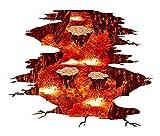 KANGLE Halloween Ein Vulkan Tüllen Flamme und Lava Wandtattoos, Abnehmbare Rote Aufkleber, Die Art Magic 3D Feuer Lavas Dreamscape Home Decor
