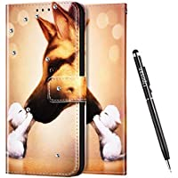 Uposao - Funda con Tapa para Samsung Galaxy Note 10 Plus, diseño de Estampado 3D, Compatible con Funda Samsung Galaxy Note 10 Plus Billetera Diamante Glitter Brillante Carcasa,Perro