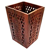 ITOS365 Wooden Hand Carved Foldable Flower Pot/Dustbin for Office, Home, Bedroom - Keep Your Home Clean