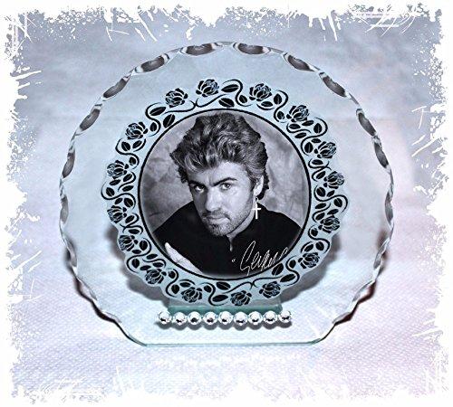 GEORGE MICHAEL Foto Geschenk mit Rundschliff Glas Plaque