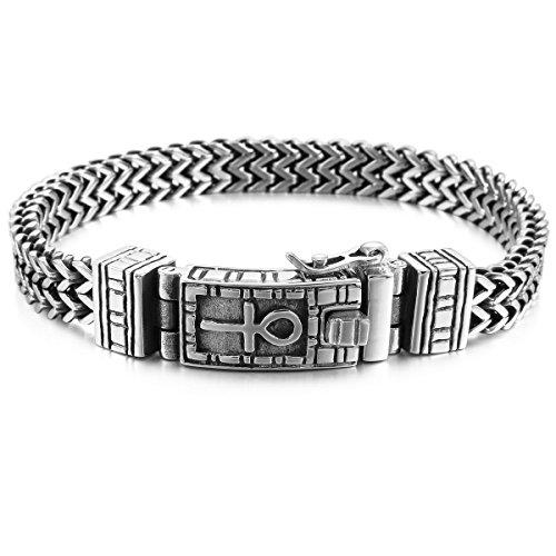 MunkiMix Edelstahl Link Armband Handgelenk Silber Ton Ägyptisches Zeichen Anch o. Ankh Kreuz Herren