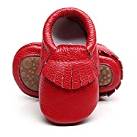 HONGTEYA Leather Baby Moccasins Hard Soled Tassel Crib Toddler Shoes for Boys and Girls (12-18 Months/5.12inch, red)