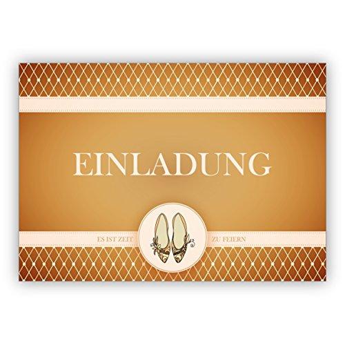 Klappkarten Set (4Stk) Edle Party Einladungskarte mit Cinderella Party Tanz Schuhen in gelb gold Optik: Einladung es ist Zeit zu feiern - auch für Firmen Kunden und Geschäftspartner Cinderella Hochzeits-einladungen