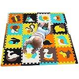 MQIAOHAM 16 stücke mit Langen rändern Baby weichen playmat schaumraum fußmatten für Kinder mädchen Yoga Teppich Play-Matte Baby Spielen Kinder edu Kind Tier Bunte infantino Puzzle Matte JS049Z