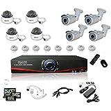 Kit Vidéosurveillance IP NVR + 4 dômes IP-1200 + 4 caméras IP-1300 + 8x 20m RJ45 + 8x adaptateurs DC/RJ45 + 1/8 splitter + Alim