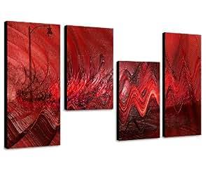 Ein Traum in Rot - extravagantes Wandbild 130x70cm 4 teiliges Keilrahmenbild (30x70+30x50+30x50+30x70cm) abstraktes Wandbild mehrteilig Gemälde-Stil handgemalte Optik Vintage