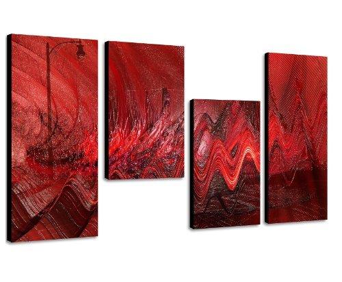 Augenblicke Wandbilder Ein Traum in Rot - extravagantes Wandbild 130x70cm 4 teiliges Keilrahmenbild (30x70+30x50+30x50+30x70cm) abstraktes Wandbild mehrteilig Gemälde-Stil handgemalte Optik Vintage