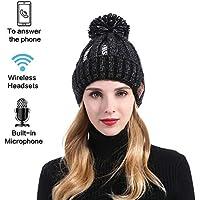 Bluetooth Beanie Hat Música Caliente Punto Cap W/Inalámbrico Altavoces Estéreo Auriculares Manos Libres Y Batería Recargable Para Teléfonos Celulares, Iphone, Ipad, Tabletas, Smartphones Android,Black