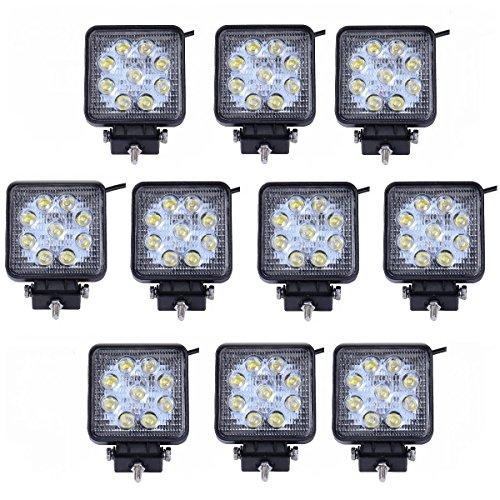 MCTECH 10x 27W LED Lámpara Trabajo 6000K-6500K Offroad lámpara Para proyector, Coche Lámpara,SUV/UTV/ATV/Truck/12 V 24 V Impermeable IP67-Negro (10 Piezas por Conjunto) [Energía Clase A +]
