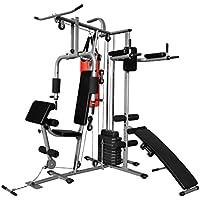 vidaXL Gimnasio Multifuncional Máquina Musculación Aparato Placas Peso Saco de Boxeo