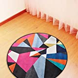 Tappeto da Bagno, Tappetini per Casa, Asnlove Rotondo Tappetino Lungo Cucina Microfibra con Antiscivolo Corridore Ultra morbido HD Bagno 60X60cm, Motivo geometrico