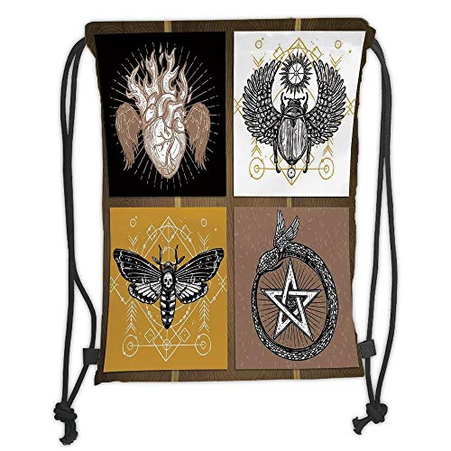 GONIESA Drawstring Sack Backpacks Bags,Occult Decor,Authentic Occult Themed Insects Print Forces of Nature and Mother Earth Boho Line,Multi Soft Satin,5 Liter Capacity,Adjustable String Closure -