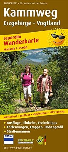 Kammweg Erzgebirge - Vogtland: Leporello Wanderkarte mit Ausflugszielen, Einkehr- & Freizeittipps, Straßennamen, wetterfest, reißfest, abwischbar, GPS-genau. 1:25000 (Leporello Wanderkarte / LEP-WK)