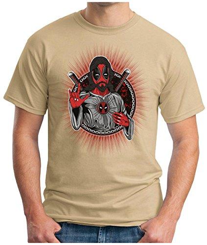 OM3 - NINJA-JESUS - T-Shirt JAPAN WARRIOR GOD CROSS CRUZIFIX ANIME PARODY SARCASM GEEK, S - 5XL Khaki