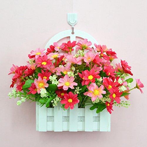 ALLDOLWEGE Personnalisé simple émulation menuiserie plastique en pot en pot pot de fleurs d'émulation de dans le mur lumière jardin exquis decorationThatThe kit rose +Hook