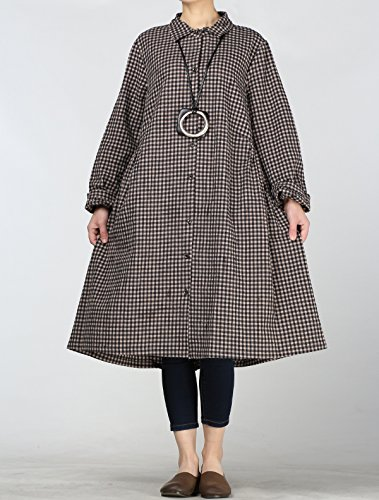 Vogstyle Femme Chemise Robe Longue à Carreux Elégante Blouse Veste Léger Poches Latérales Noir