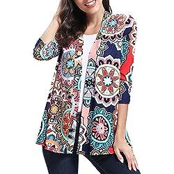 DAY.LIN Boho Impression Cardigan Femmes Blousons Manteaux T-Shirts à Manches Longues Tops Blouses T-Shirt Sweat-Shirt Tee-Shirt Pas Cher Sweatshirt Chemises(Small,Multicolore)