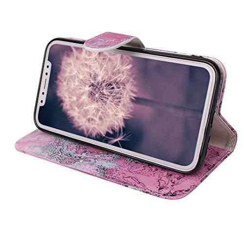 iPhone X Hülle, Asnlove Premium Leder Schutzhülle PU Leder Flip Tasche Case Book Style mit Integrierten Kartensteckplätzen und Ständer für Apple iPhone 10 / iPhone X 5.8 Zoll 2017 - Pteris Blume Marmor Rose