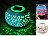 CERAMIC COLOUR CHANGING LED SOLAR SUN POWERED FILIGREE TABLE LIGHT GARDEN LAMP