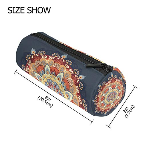 TIZORAX Bunte Henna-Mandala-Blumen-Federmäppchen mit Reißverschluss für Münzen, Make-up, Kostüm-Tasche für Damen, Teenager, Mädchen, Jungen, ()