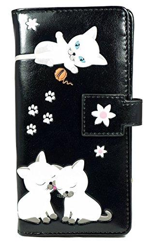 Shagwear Junge-Damen Geldbörse, Large Purse: Verschiedene Farben und Designs: (Verspielte Kätzchen Schwarz/Playful Kittens) (Kätzchen Junge)