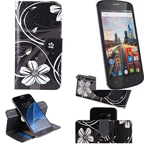 K-S-Trade Schutzhülle Archos 50e Helium Hülle 360° Wallet Case Schutz Hülle ''Flowers'' Smartphone Flip Cover Flipstyle Tasche Handyhülle schwarz-weiß 1x