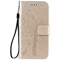 Galaxy S7 Case, CUSKING PU Leather Wallet Case with Card Slots, Magnetic Shockproof Embossed Cat Tree Butterfly Pattern Design Case Cover for Samsung Galaxy S7 - White