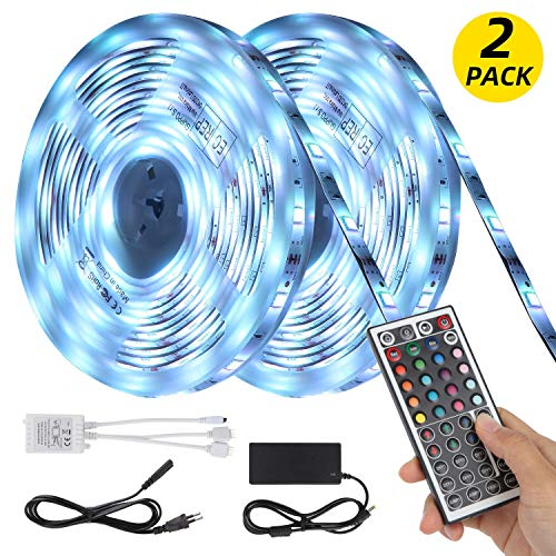 LED Strip 10m LED Streifen - LED Stripes 10m(2x5m) Wasserdicht 5050SMD 300(2x150) LEDs RGB Strip Full Kit - LED Band mit Controller und Netzteil
